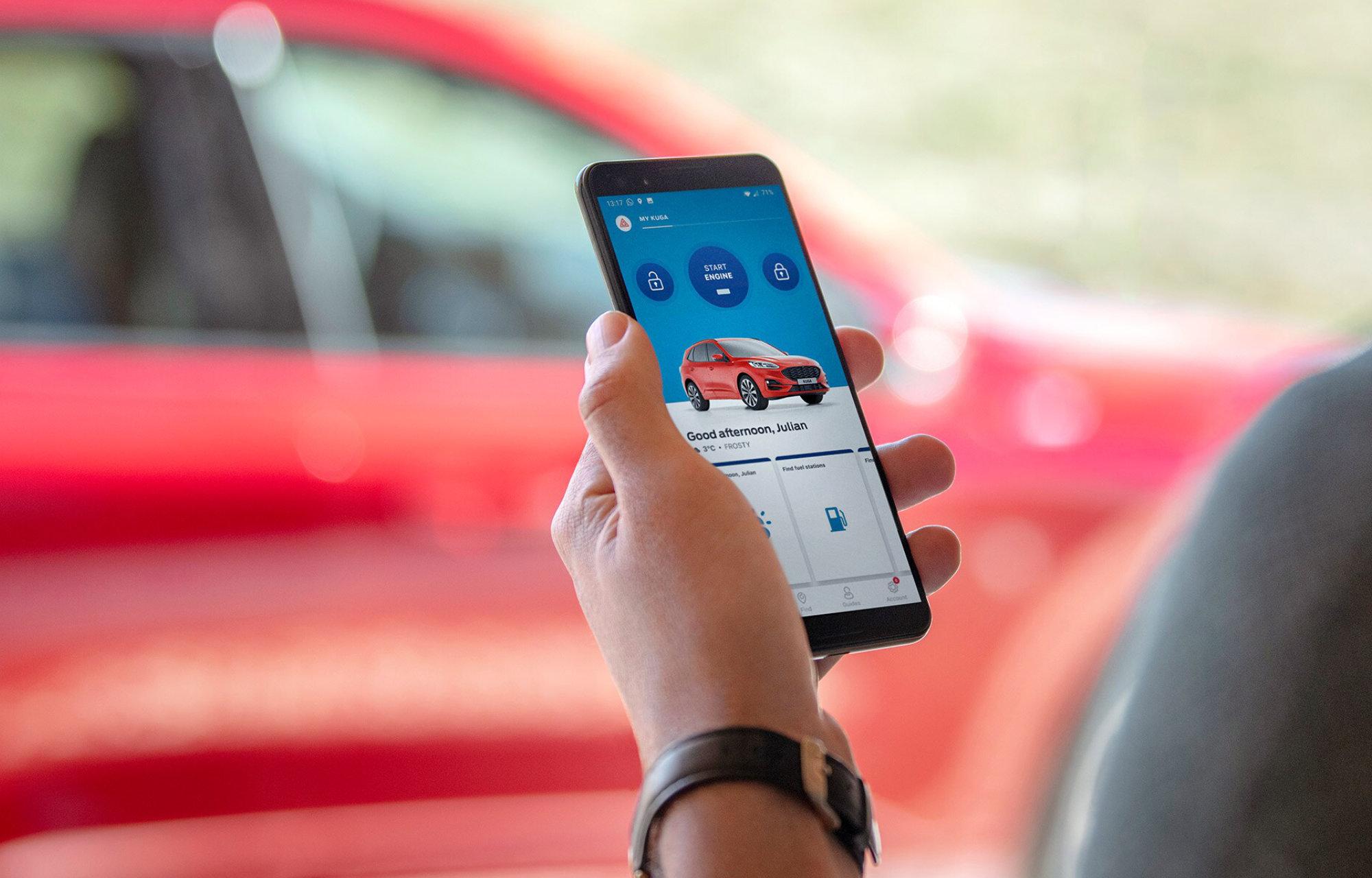 Un téléphone avec Ford App