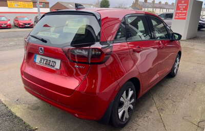 Rear-right view - red 2021 (212) Honda Jazz 1.5 i-MMD Elegance - Save €1,995 only at Slaney View Motors