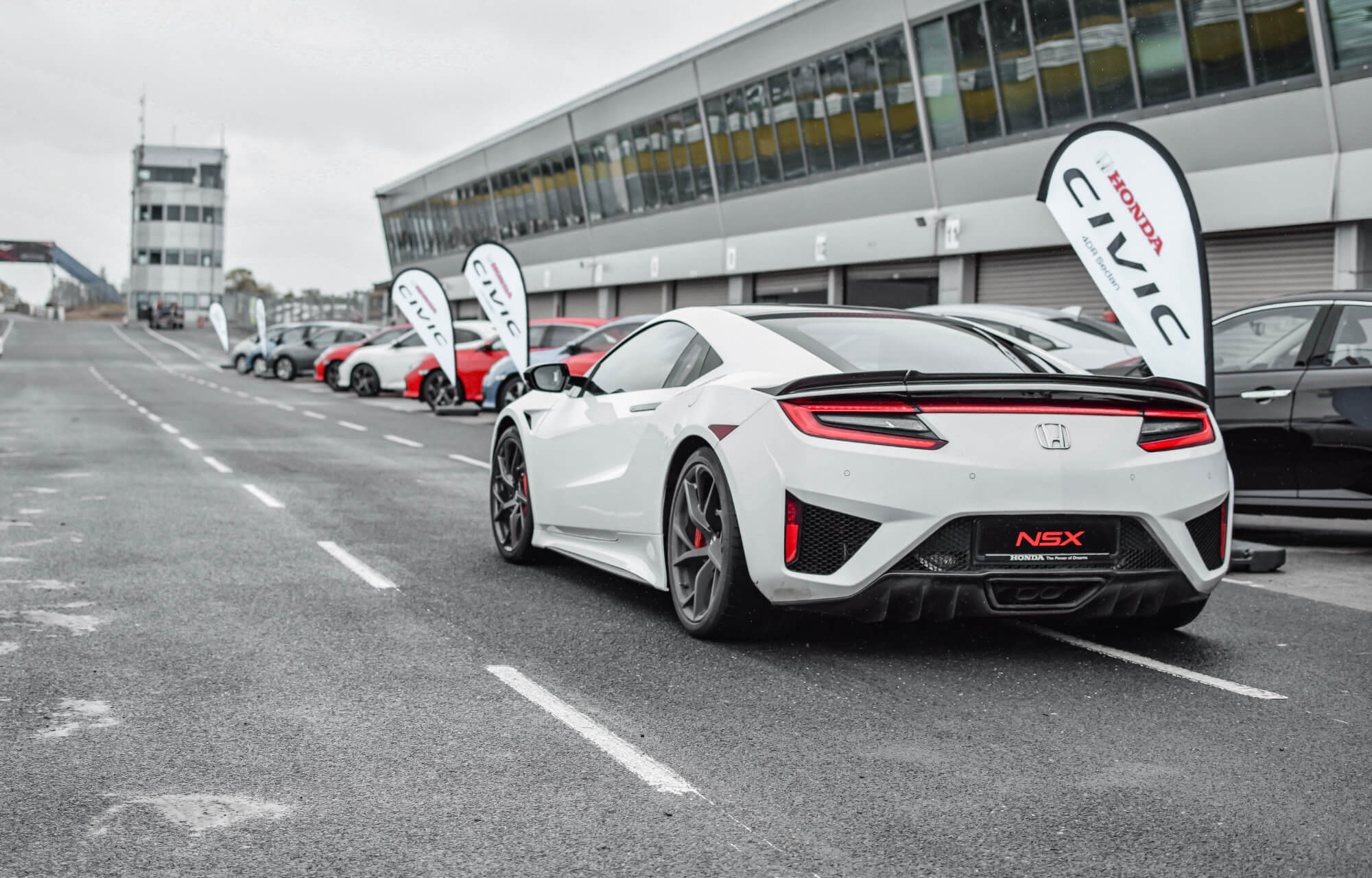 Honda at Mondello Race Track with the NSX and Civic Type R