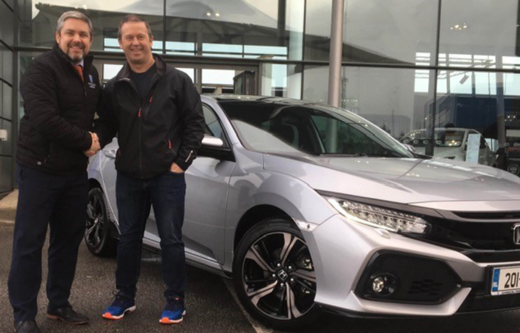 John Coomey collecting his new Honda Civic GT from Johnson & Perrott