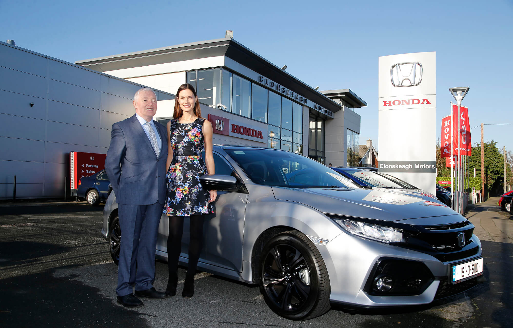 Dermot Murphy Managing Director of Clonskeagh Motors and Alison Canavan Clonskeagh Motors Honda brand ambassador, international model, bestselling author and health and wellness coach