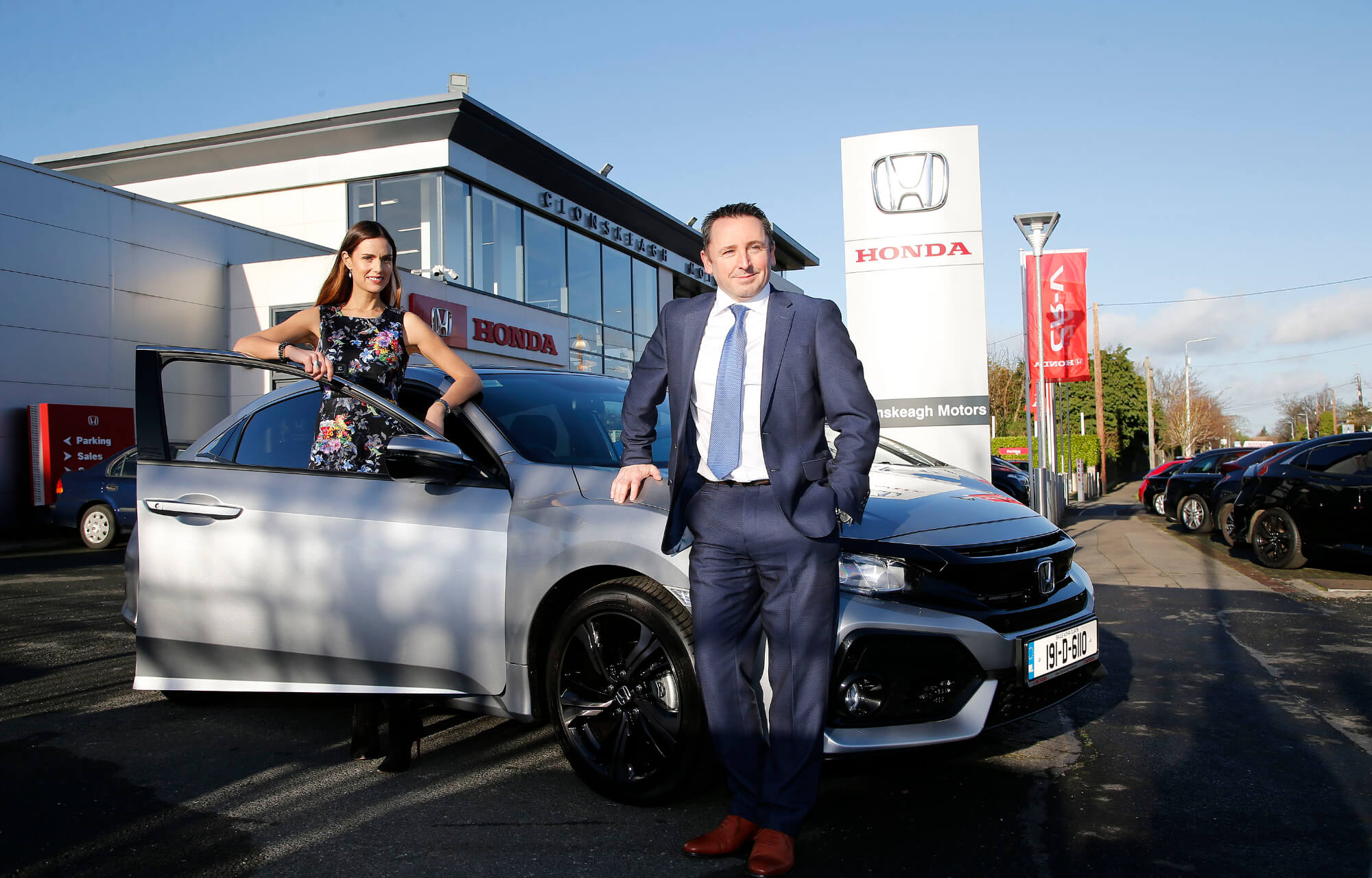 Alison Canavan Clonskeagh Motors Honda brand ambassador, international model, bestselling author and health and wellness coach and Dave Collier General Manager of Clonskeagh Motors