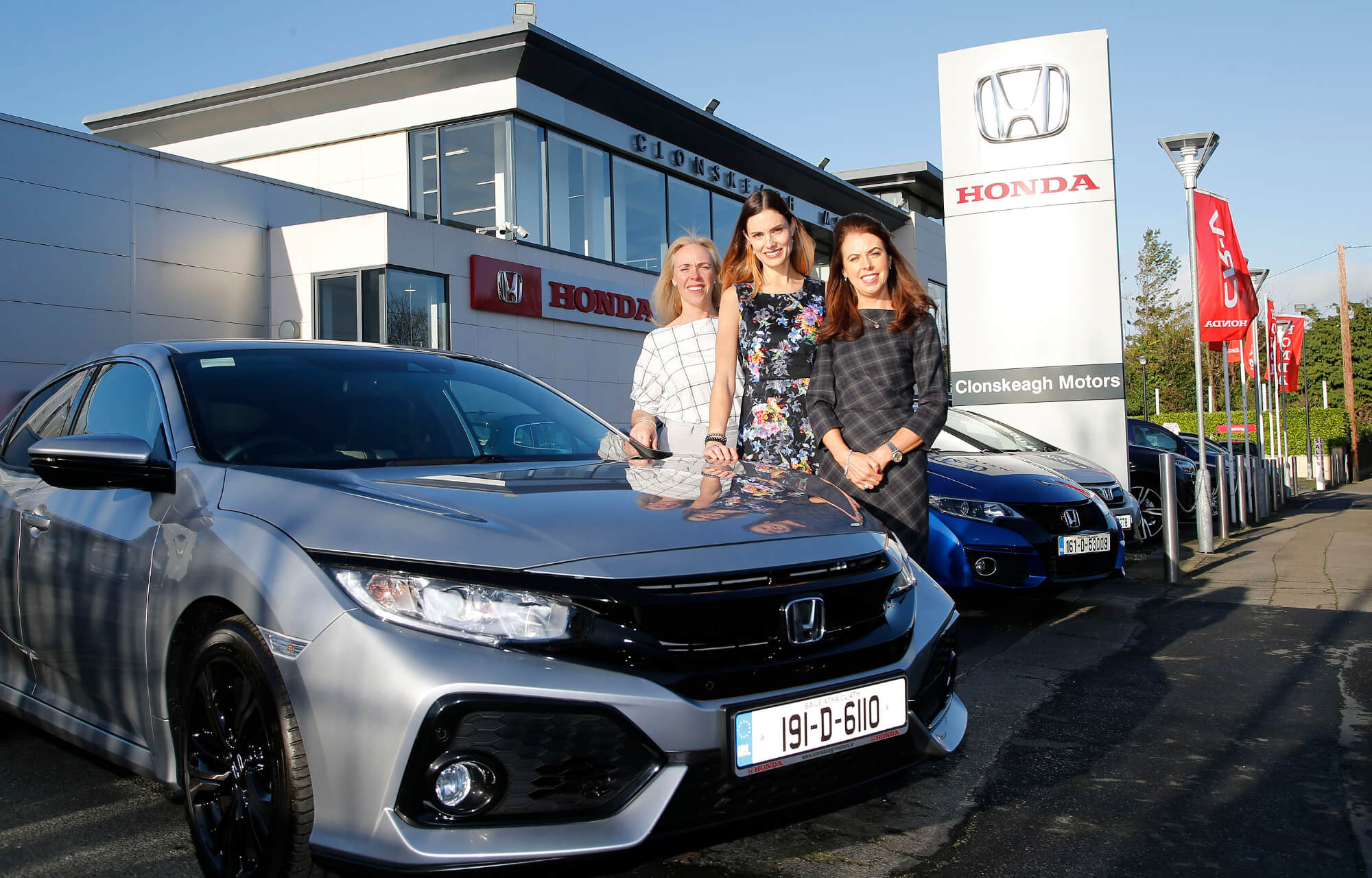 Sharon Murphy Director of Clonskeagh Motors, Alison Canavan Clonskeagh Motors Honda brand ambassador, international model, bestselling author and health and wellness coach and Fiona Murphy Director of Clonskeagh Motors