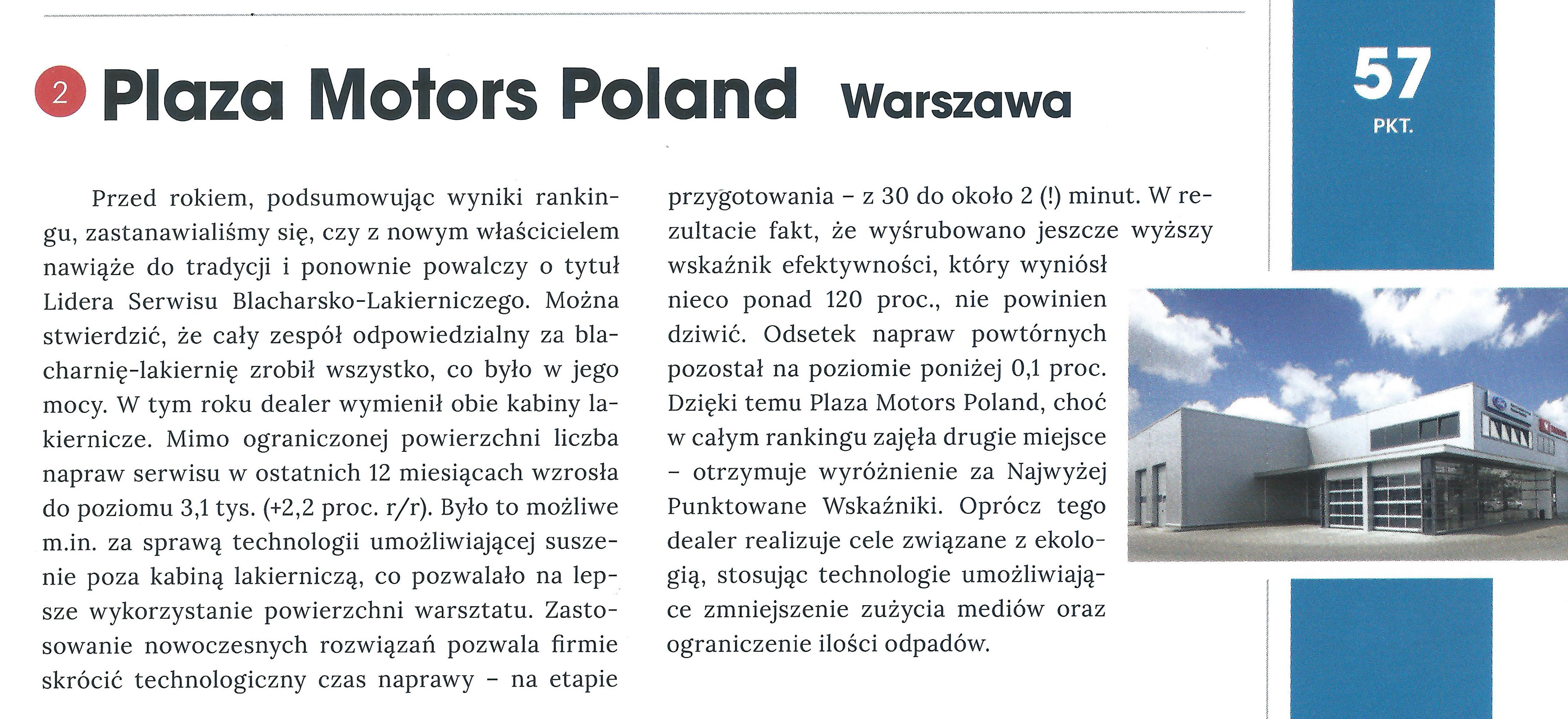 Auto Plaza AZNN drugie miejsce w rankingu Lider Serwisu Blacharsko - Lakierniczego