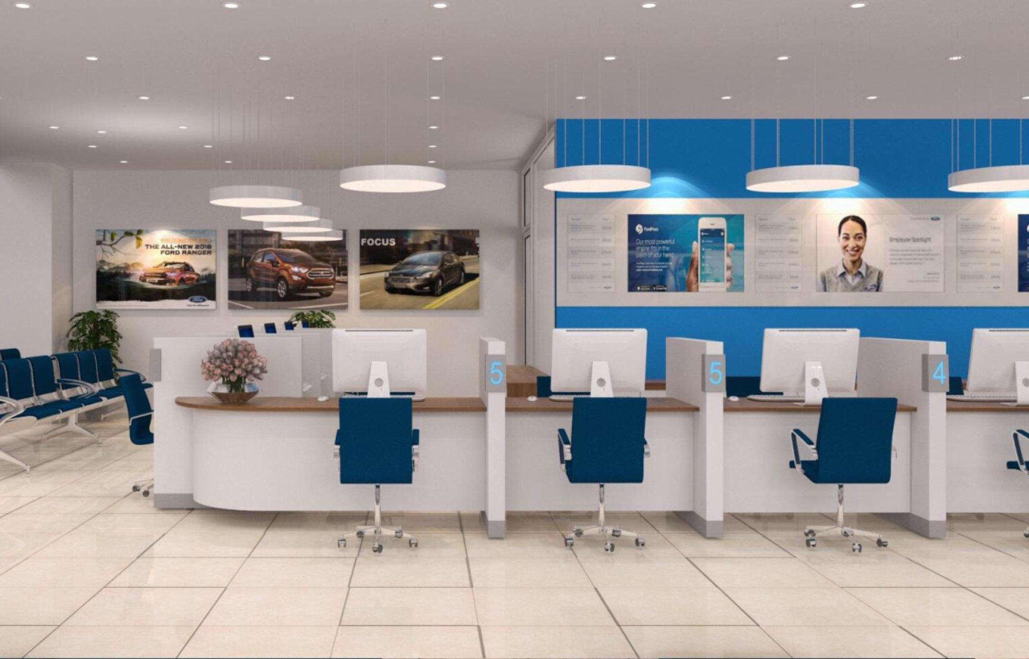 Khu vực bàn làm việc của CVDV được thiết kế thuận tiện ngay tại cửa vào dịch vụ