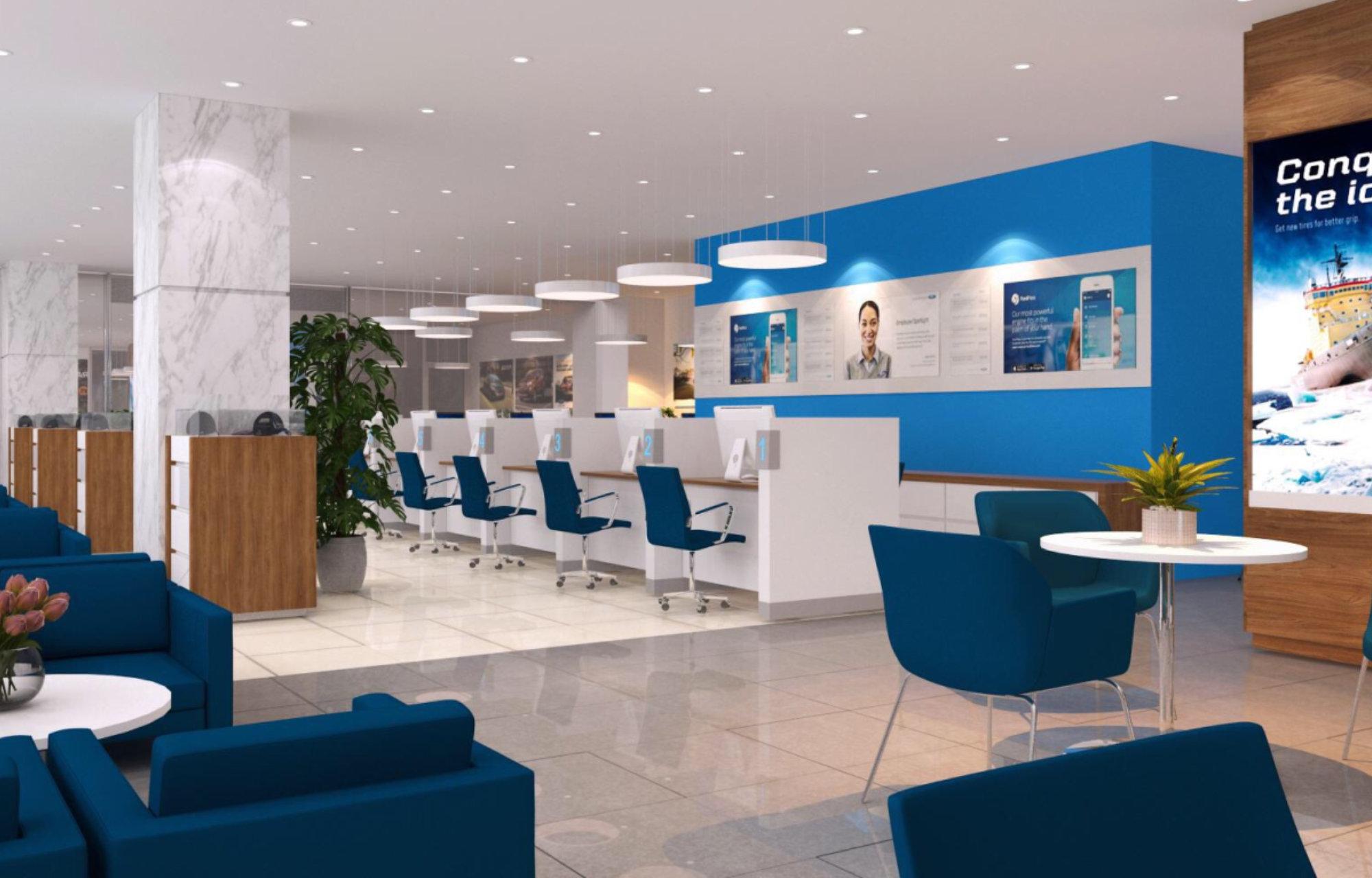 Khu vực phòng chờ Khách hàng được thiết kế mở tạo cảm giác thoáng đãng